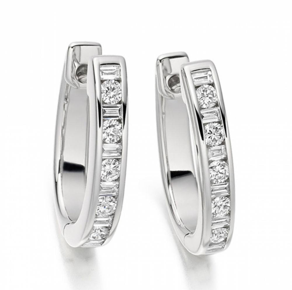 0.55cts Baguette and Round Diamond Hoop Earrings
