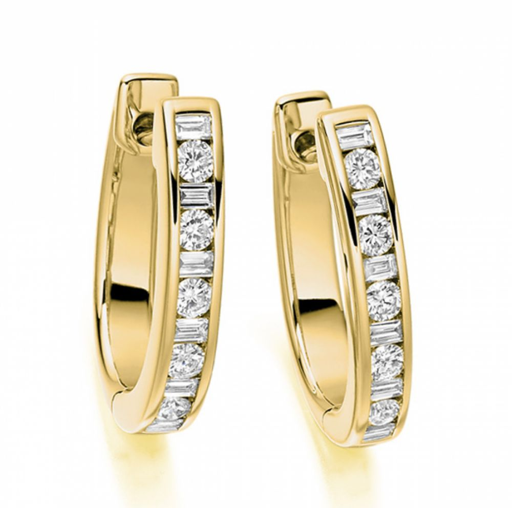 0.55cts Baguette and Round Diamond Hoop Earrings In Yellow Gold