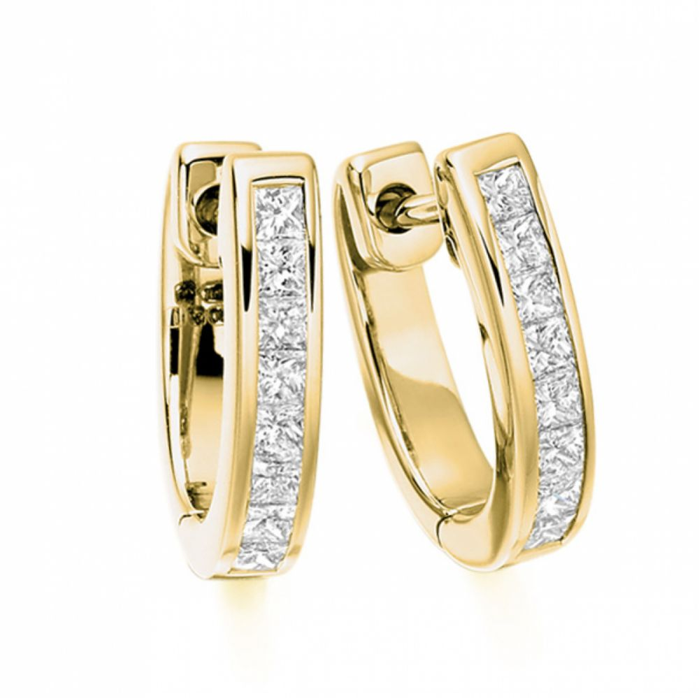 0.50cts Princess Cut Diamond Hoop Earrings In Yellow Gold