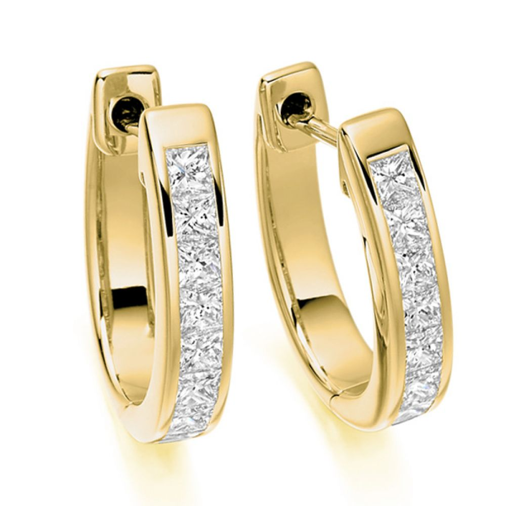 1 Carat Princess cut Diamond Hoop Earrings In Yellow Gold