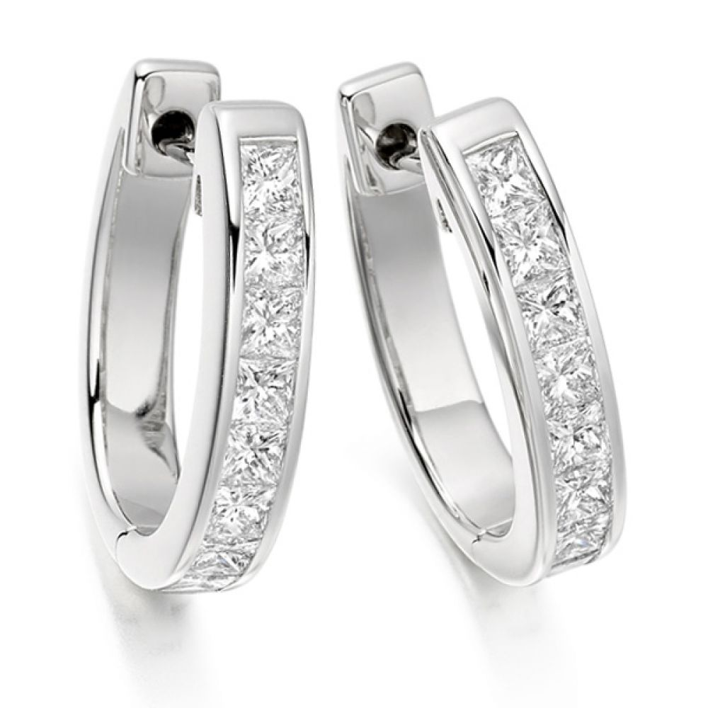 1.50cts Channel Set Princess Diamond Hoop Earrings
