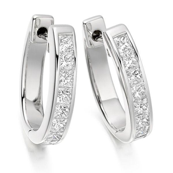 Ee163 Gep003 1 50cts Channel Set Princess Diamond Hoop Earrings