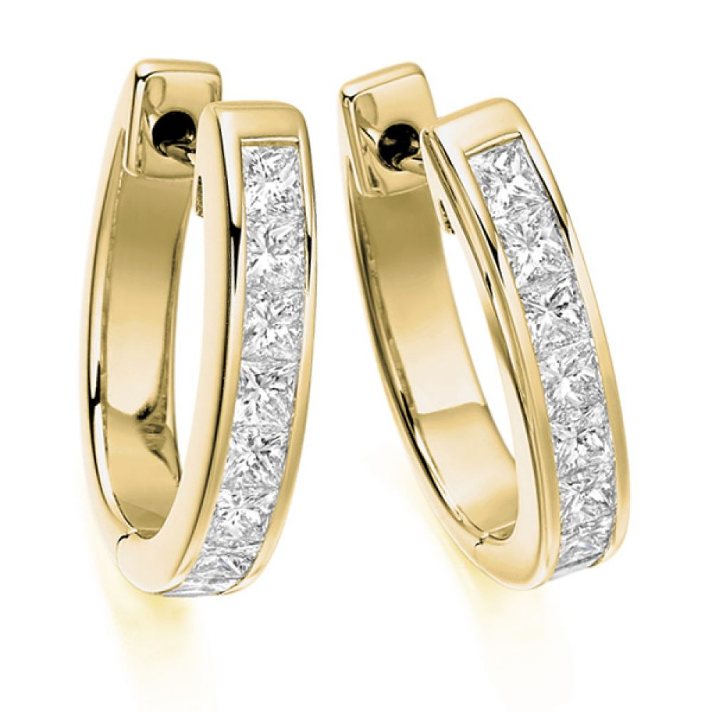 1.50cts Channel Set Princess Diamond Hoop Earrings In Yellow Gold
