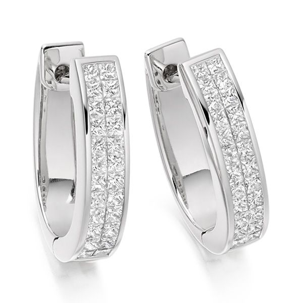 1 Carat 2 Row Princess Diamond Hoop Earrings Main Image