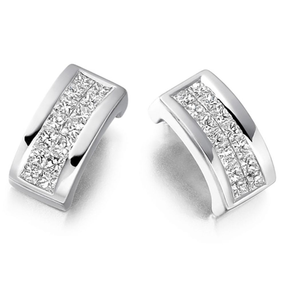 0.55cts 2 Row Princess Diamond Stud Earrings