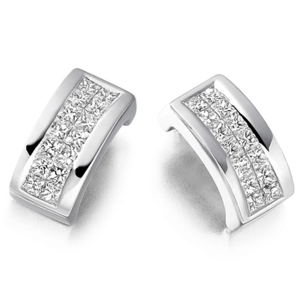 0.55cts 2 Row Princess Diamond Stud Earrings