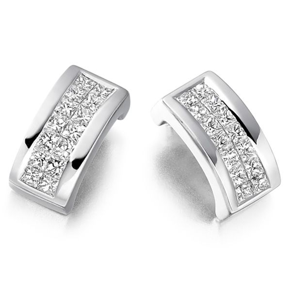 0.55cts 2 Row Princess Diamond Stud Earrings Main Image