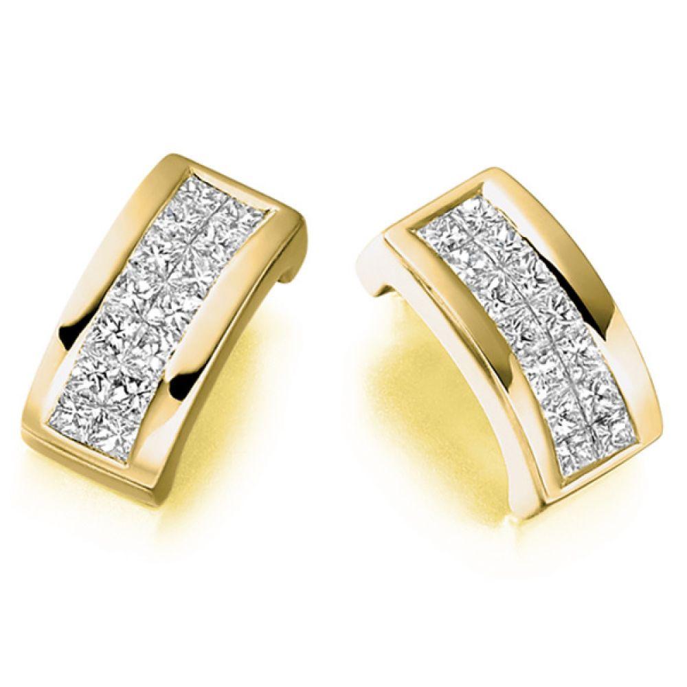 0.55cts 2 Row Princess Diamond Stud Earrings In Yellow Gold