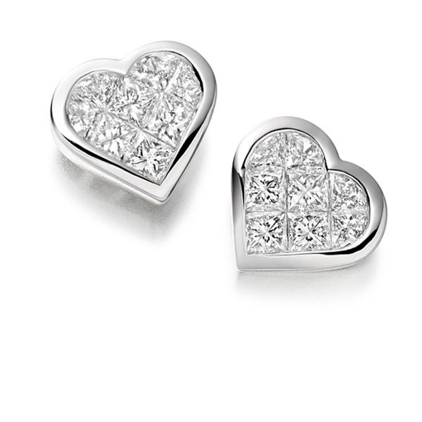 Ee221 Gep006 0 80cts Invisible Set Heart Shaped Diamond Earrings