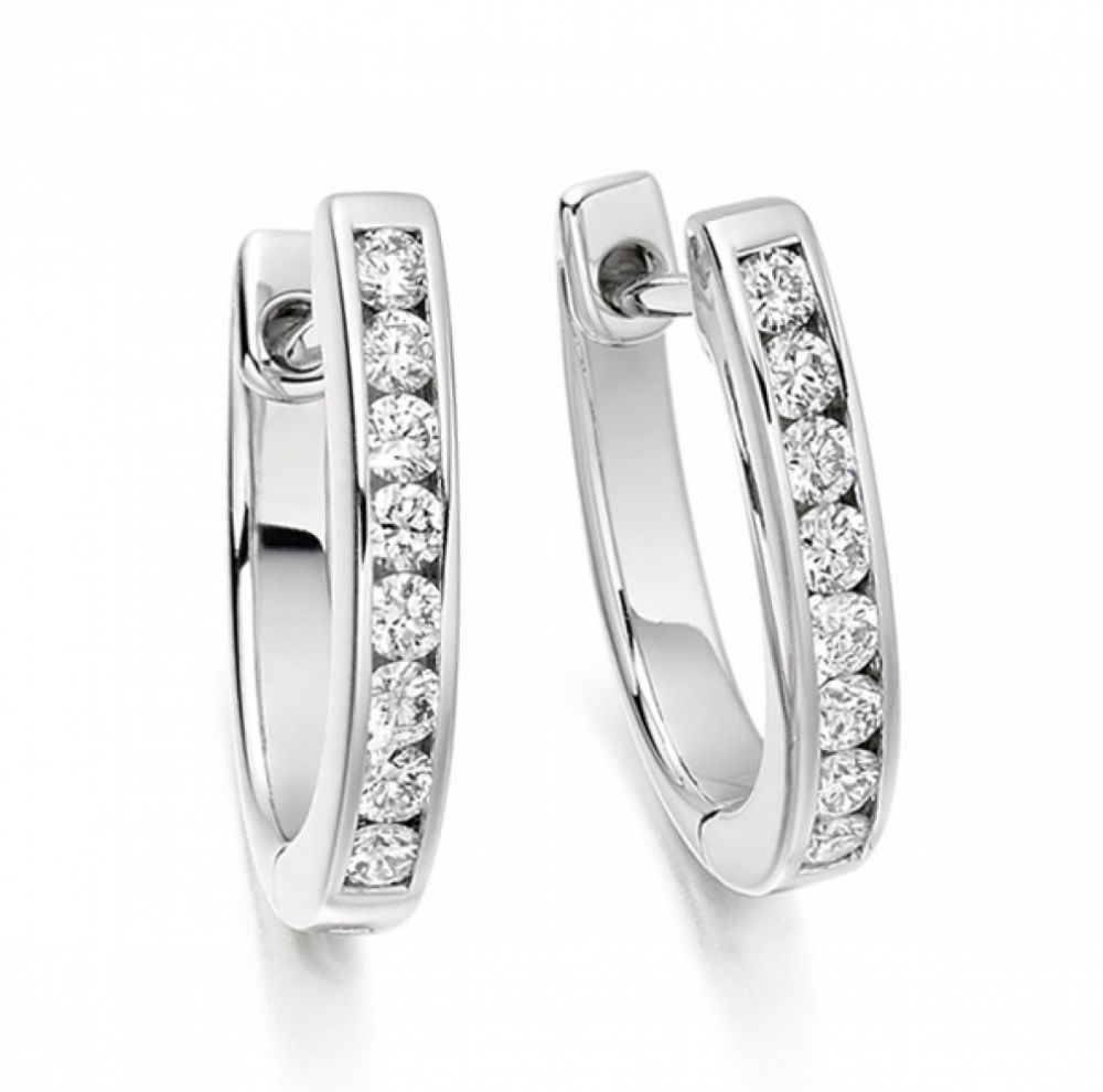 0.33cts Channel Set Round Diamond Hoop Earrings