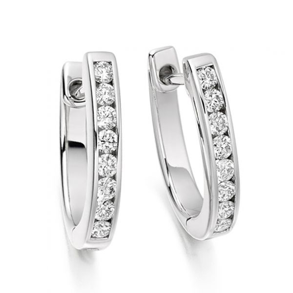 0.33cts Channel Set Round Diamond Hoop Earrings Main Image