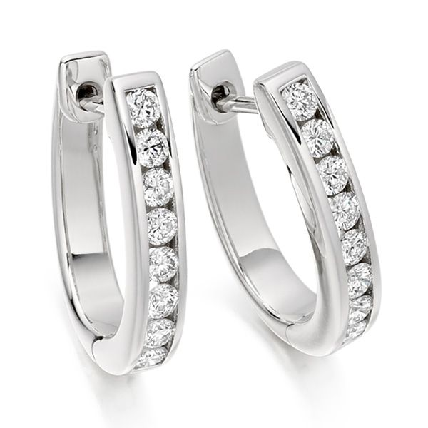 0.55cts Channel Set Round Diamond Hoop Earrings Main Image
