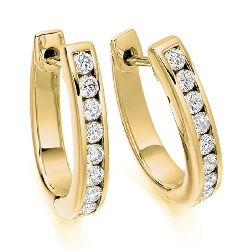 0.55cts Channel Set Round Diamond Hoop Earrings In Yellow Gold