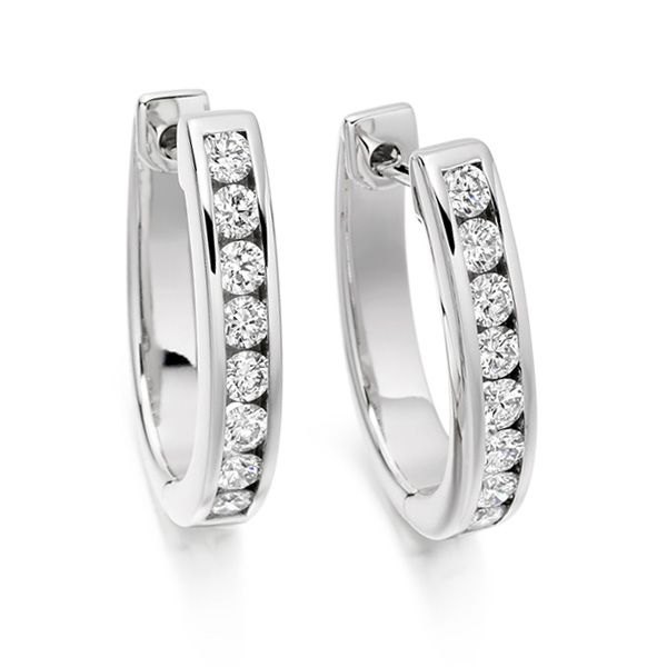 0.76cts Channel Set Round Diamond Hoop Earrings Main Image