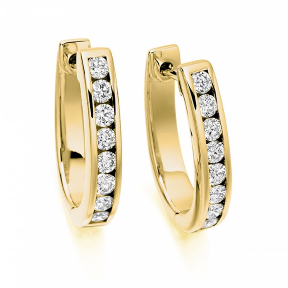 0.76cts Channel Set Round Diamond Hoop Earrings In Yellow Gold