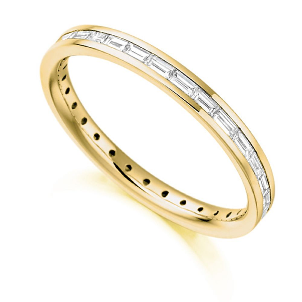 0.60cts Baguette Cut Diamond Full Eternity Ring In Yellow Gold