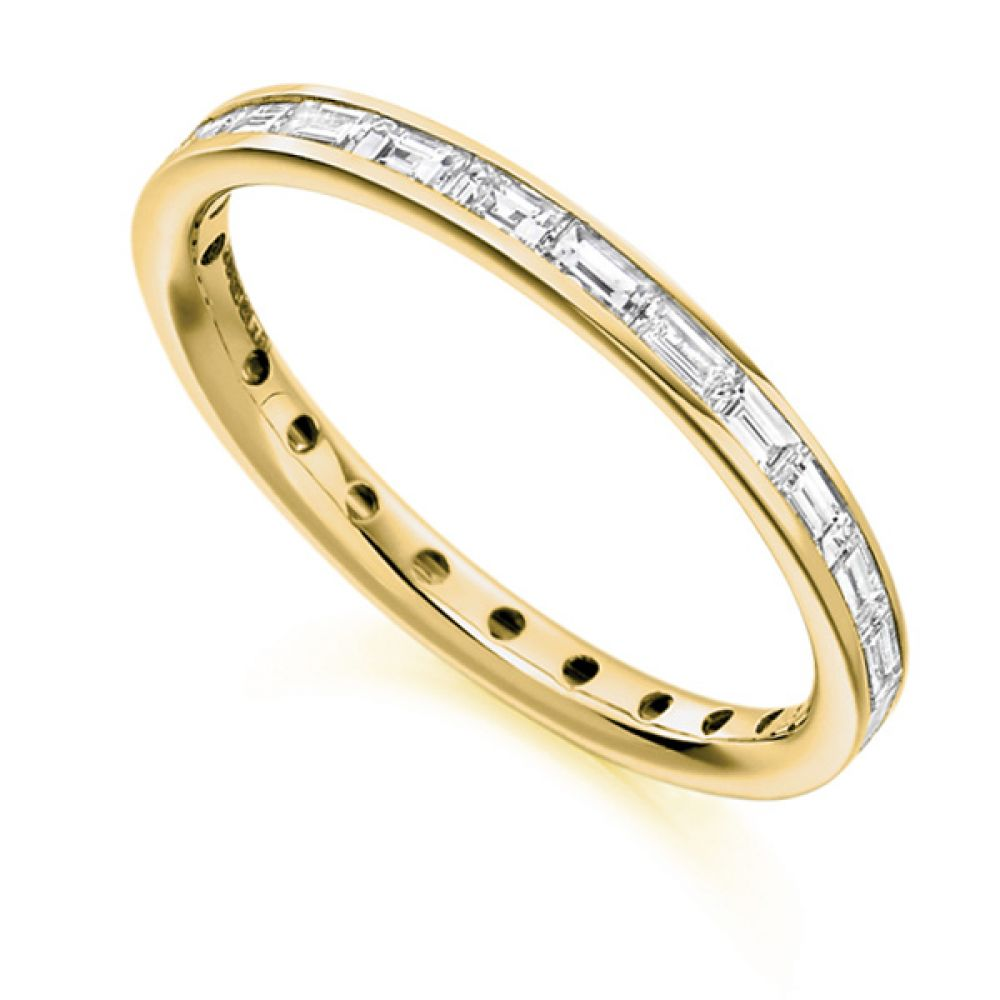 0.75cts Baguette Diamond Full Eternity Ring In Yellow Gold