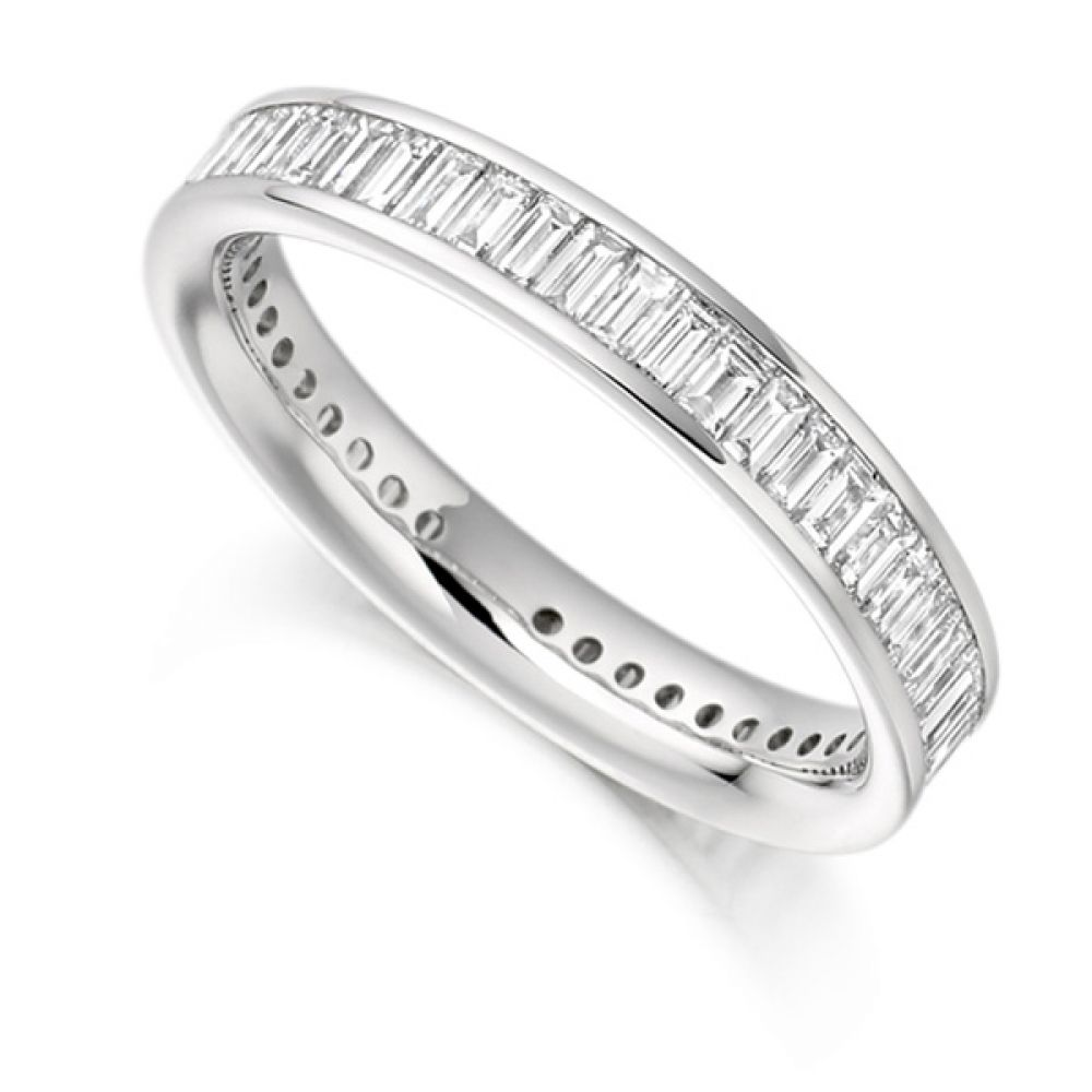 1.50cts Cross Set Baguette Diamond Full Eternity Ring
