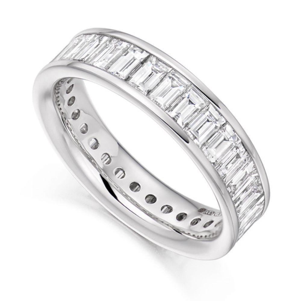 3 Carat Cross Set Baguette Diamond Full Eternity Ring