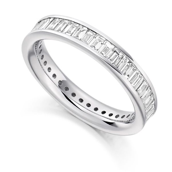 2 Carat Cross Set Baguette Diamond Full Eternity Ring Main Image