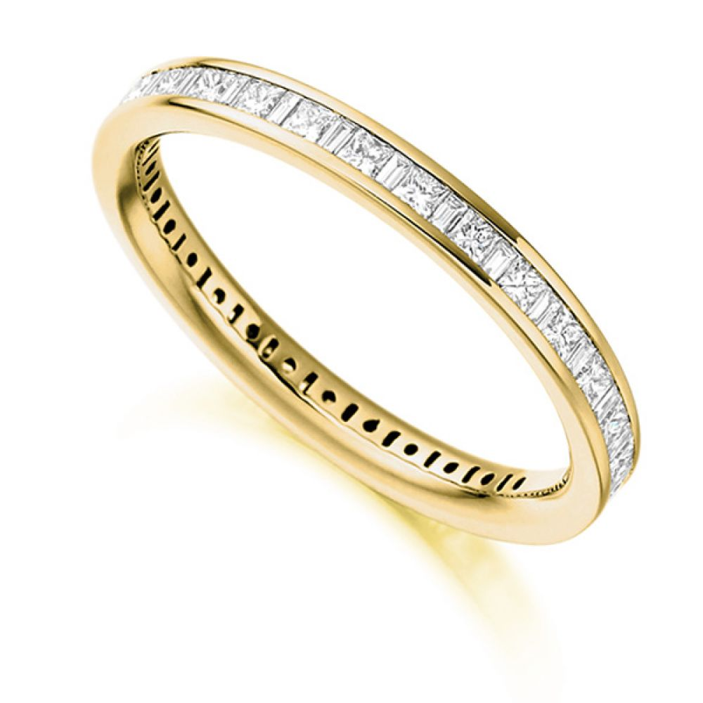 1 Carat Baguette and Princess Diamond Full Eternity Ring In Yellow Gold