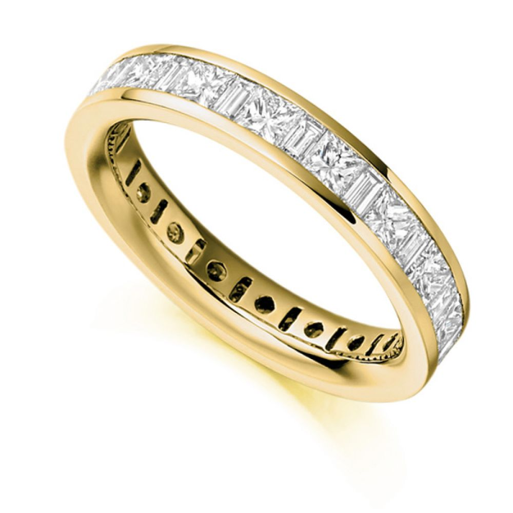 3 Carat Princess & Baguette Diamond Full Eternity Ring In Yellow Gold