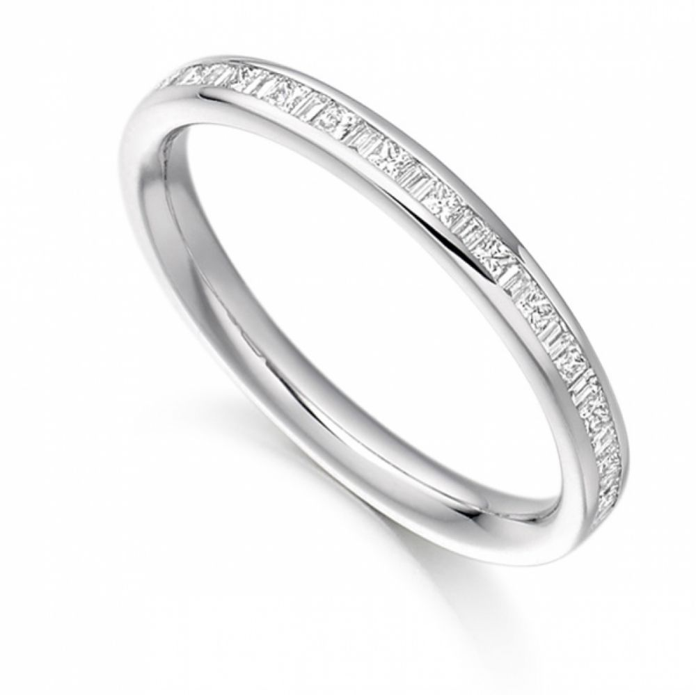 0.30cts Princess & Baguette Half Diamond Eternity Ring White Gold
