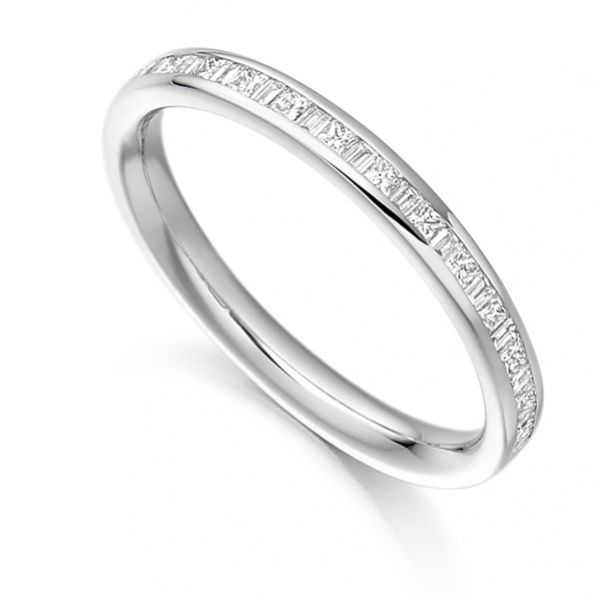 0.30cts Princess & Baguette Half Diamond Eternity Ring Main Image