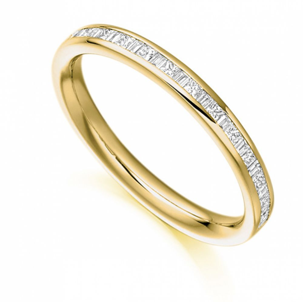 0.30cts Princess & Baguette Half Diamond Eternity Ring In Yellow Gold