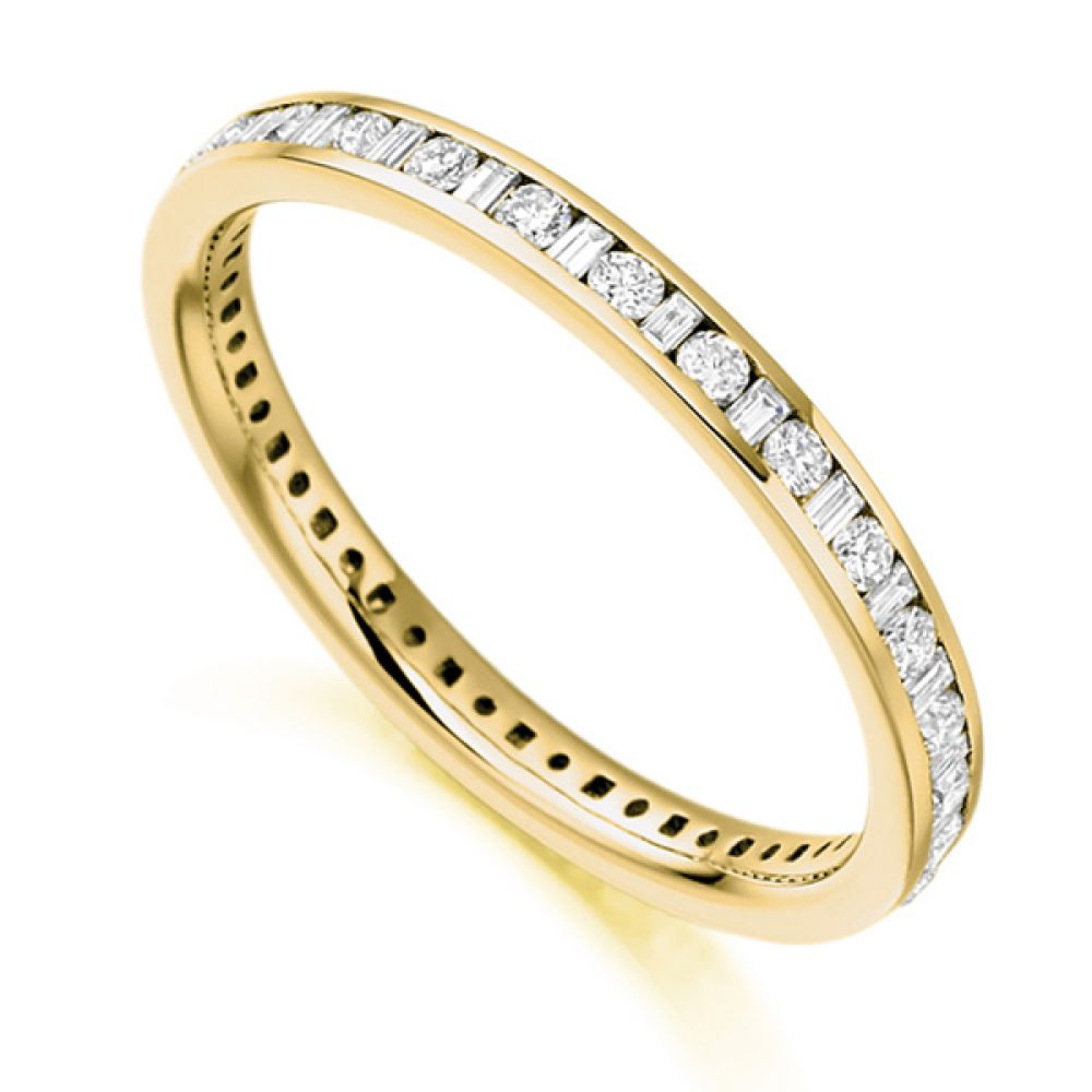 0.50cts Baguette & Round Diamond Full Eternity Ring In Yellow Gold