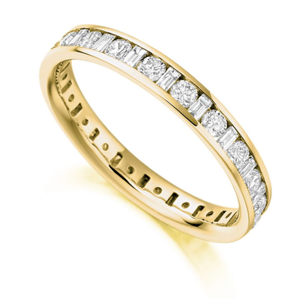 1.15ct Baguette and Round Diamond Full Eternity Ring In Yellow Gold