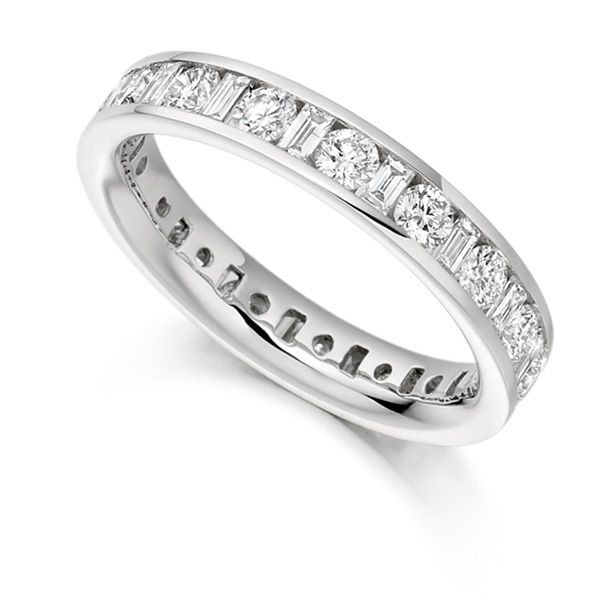2 Carat Round and Baguette Diamond Full Eternity Ring Main Image