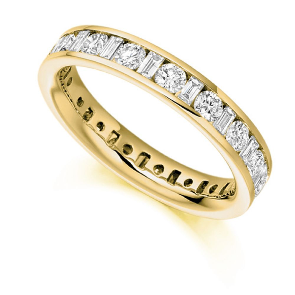 2 Carat Round and Baguette Diamond Full Eternity Ring In Yellow Gold