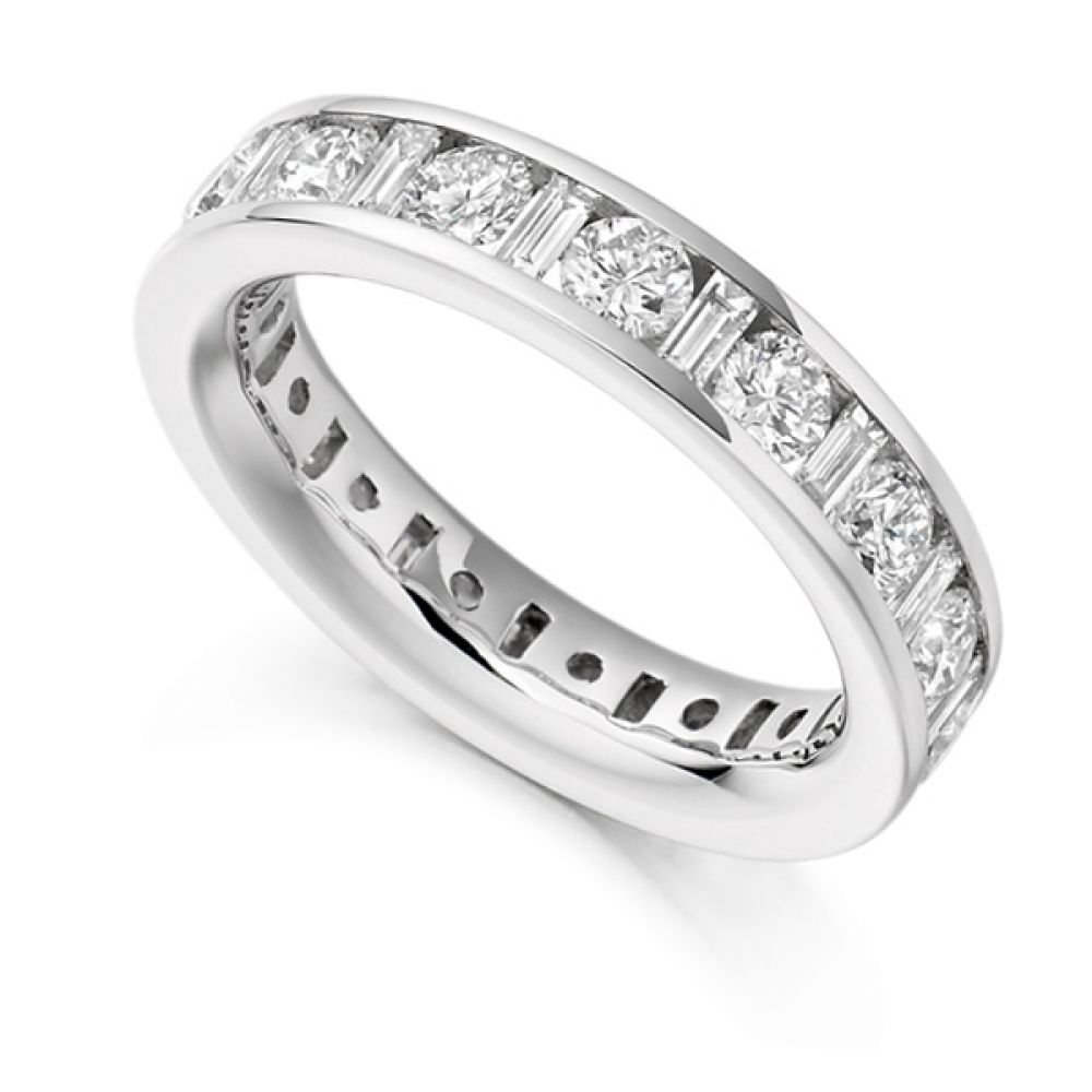 3 Carat Baguette and Round Brilliant Cut Full Diamond Eternity Ring
