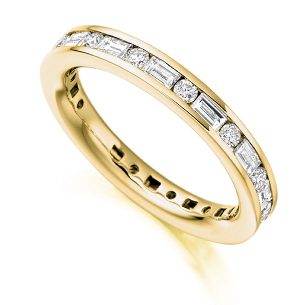 1.25cts Lengthways Set Baguette & Round Diamond Eternity Ring In Yellow Gold