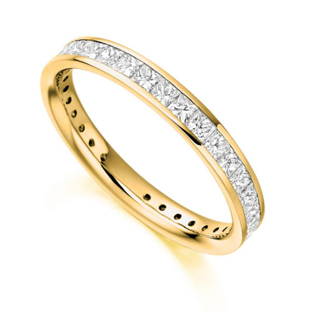 1.30cts Princess Cut Diamond Full Eternity Ring In Yellow Gold