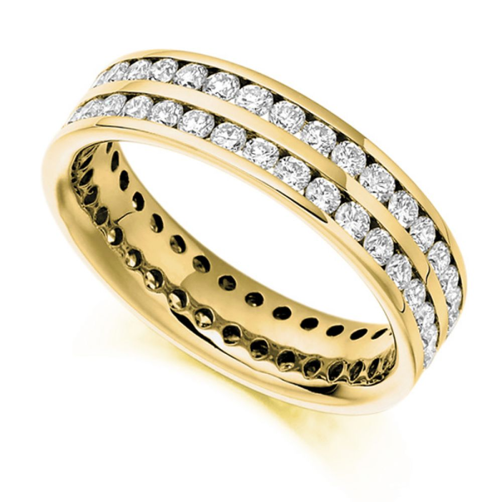 1.56ct Double Channel Full Diamond Eternity Ring In Yellow Gold