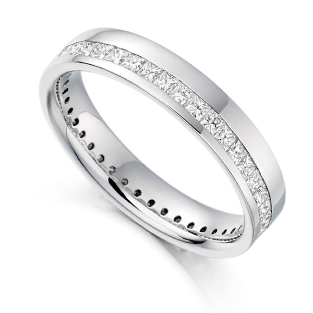 1 Carat Princess Full Diamond Eternity Ring with Off-Set Channel