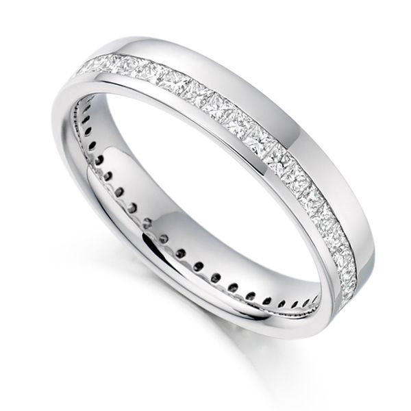 1 Carat Princess Full Diamond Eternity Ring with Off-Set Channel Main Image