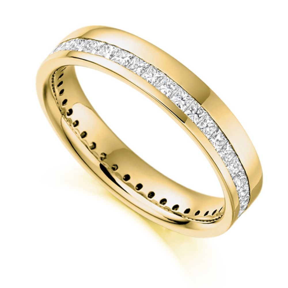 1 Carat Princess Full Diamond Eternity Ring with Off-Set Channel In Yellow Gold