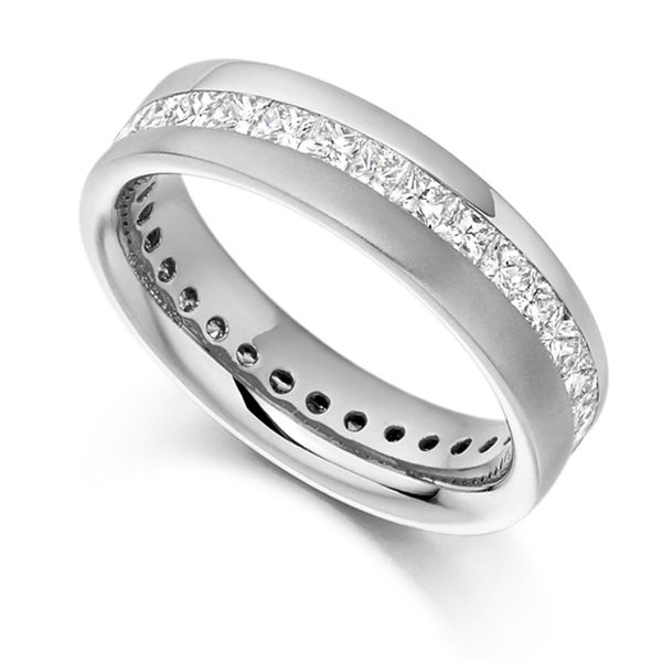 1.50cts Diagonal Channel Full Princess Diamond Eternity Ring Main Image