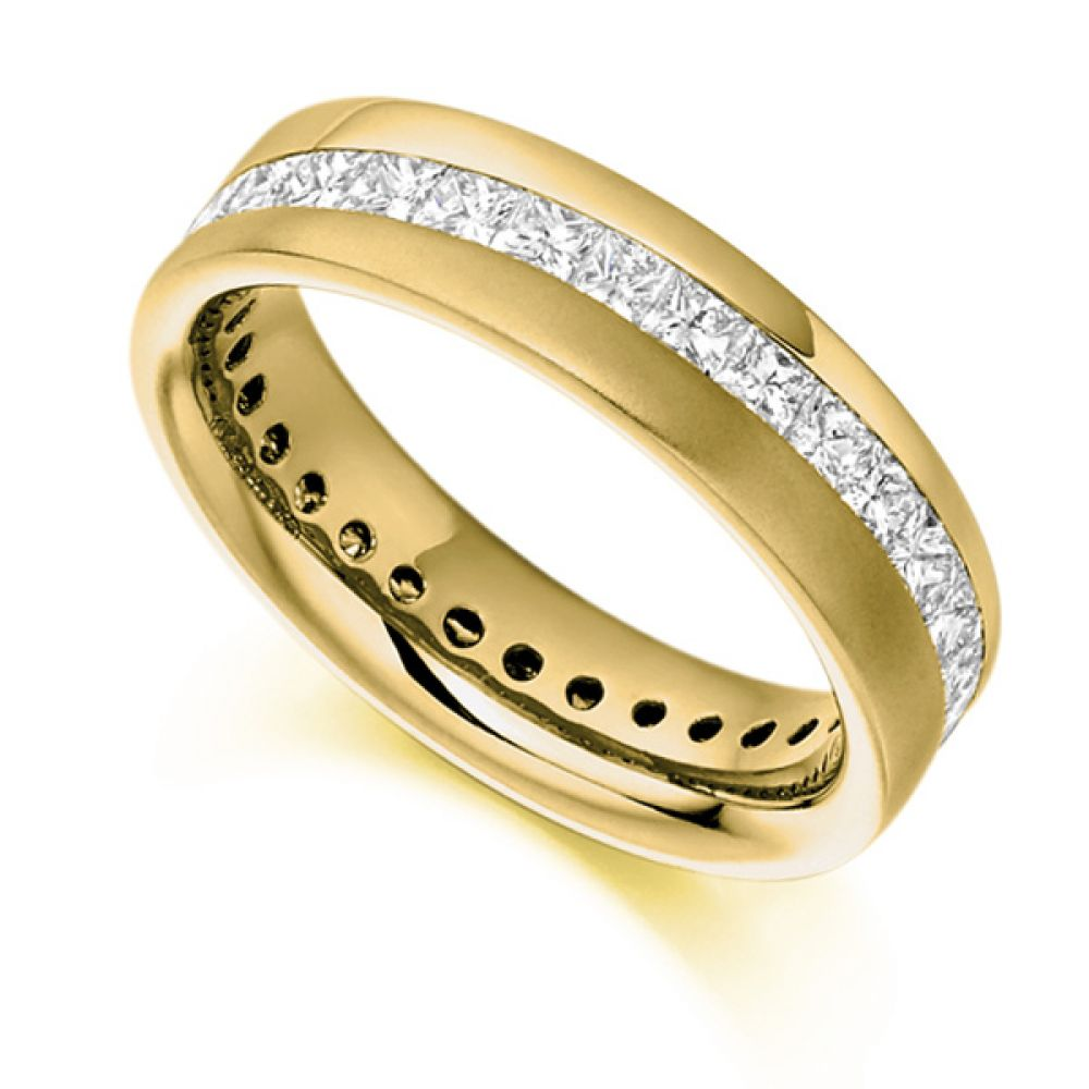 1.50cts Diagonal Channel Full Princess Diamond Eternity Ring In Yellow Gold