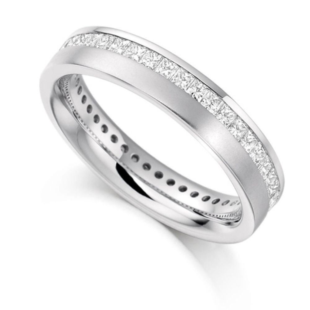 1 Carat Offset Channel Full Diamond Eternity Ring
