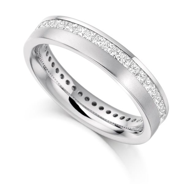 1 Carat Offset Channel Full Diamond Eternity Ring Main Image