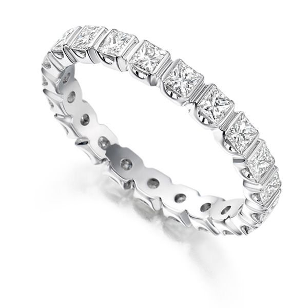 1.5 Carat Bar Set Princess Full Diamond Eternity Ring Main Image