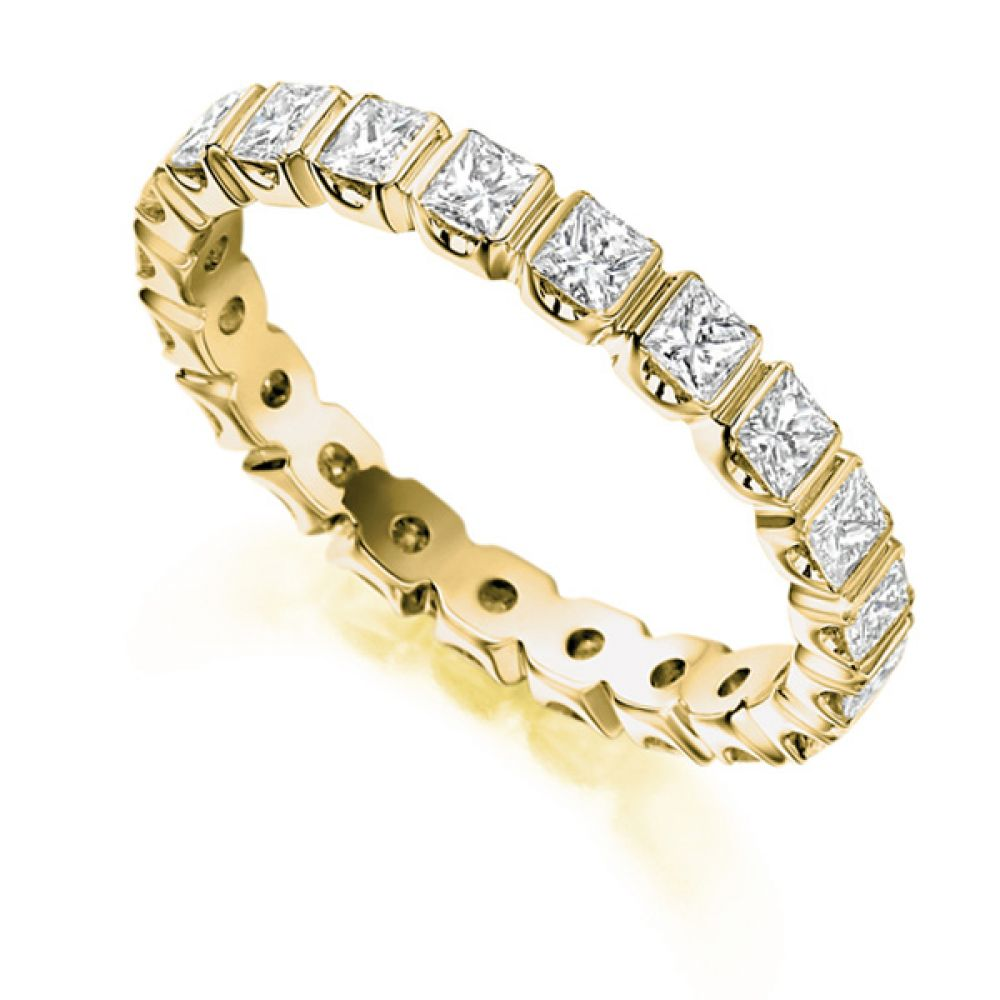 1.5 Carat Bar Set Princess Full Diamond Eternity Ring In Yellow Gold