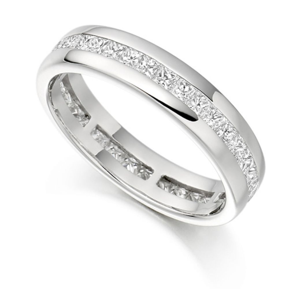 1 Carat Princess Diamond Eternity Ring Channel Set