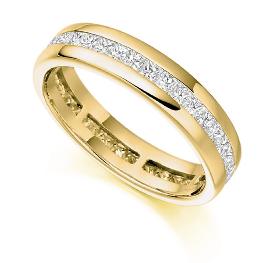 1 Carat Princess Diamond Eternity Ring Channel Set In Yellow Gold