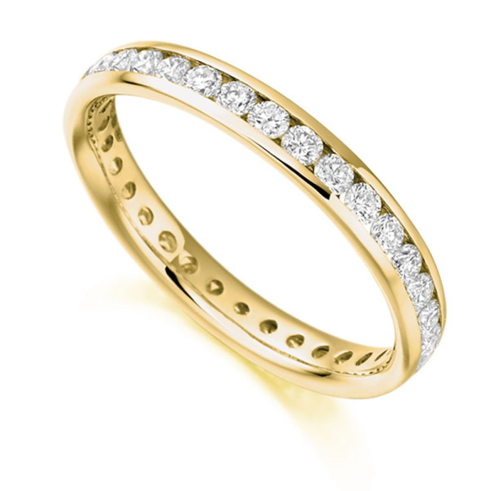 0.90cts Round Diamond Full Eternity Ring Channel Set In Yellow Gold