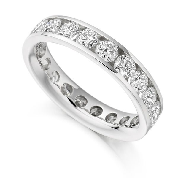 3 Carat Round Diamond Full Eternity Ring Channel Setting Main Image